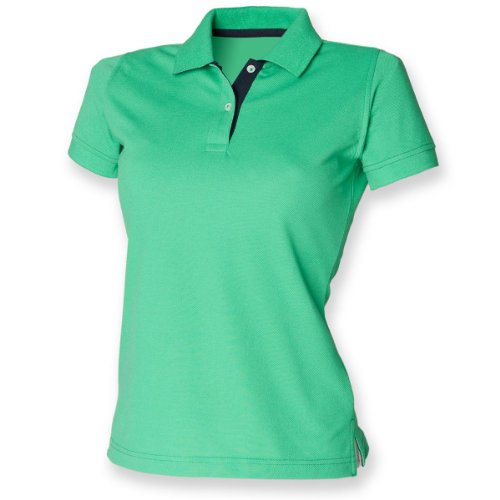 Contraste de henbury femmes 65/35 Polo clair Vert / Marine
