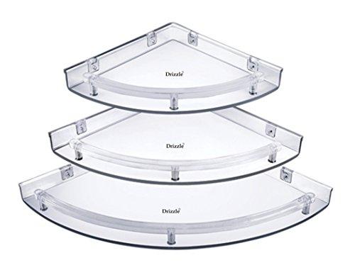 Drizzle Corner Shelves Super Clear/Corner Shelf Transparent/Corner Shelf For Bathroom/Corner Shelf For Home Decor – One Set (3 Pieces)