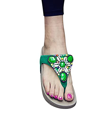 CHENGYANG Women Thick Soles Thongs Beach Wedges Sandals Non-Slip Flip Flops Green 5 UK