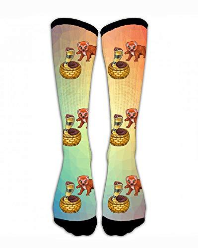 Kotdeqay Men & Women Classics Crew Socks Mongoose and Cobra Animal Funny Crazy Unique Thick Warm Cotton Crew Winter Socks Personalized Gift Socks (Dress Online Shops Fancy)