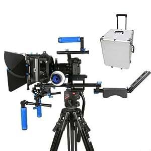 Morros Pro DSLR Rig Kit Set Movie épaule Mont Rig + Follow Focus + Matte Box + Fouets + Vitesses Crank + Big objectif Support et étui de transport pour tous les appareils photo reflex numériques et Vidéo Caméscopes