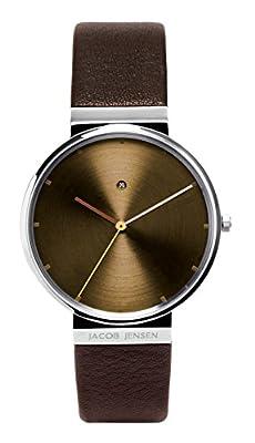 Jacob Jensen New Dimension 843 - Reloj de caballero de cuarzo, correa de piel color marrón de JACOB JENSEN