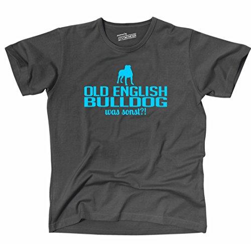 Siviwonder Unisex T-Shirt OLD ENGLISH BULLDOG WAS SONST?! Wilsigns Hunde Hund fun dark grey - türkis