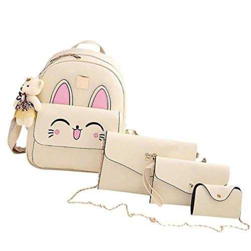 Rucksack Kolylong® 1 Set Drucken Rucksack PU-Leder Mädchen Schultertasche Schulranzen für Studenten College Damen Daypack Messenger Handtaschen Süße Tasche Backpack 4 PCs (Beige) -