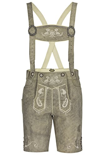 Herren Trachtenlederhose Bergkristall kurz - helle oder dunkle Trachten Lederhose - Echtleder Hose mit rauer Veredlung Grau