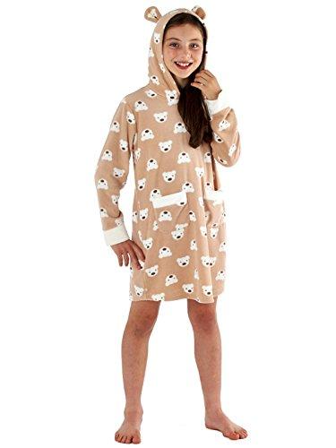 Preisvergleich Produktbild Mädchen ALEXA Warm Micro Fleece Hooded Lounger mit Ohren Braun 5/6 Jahre