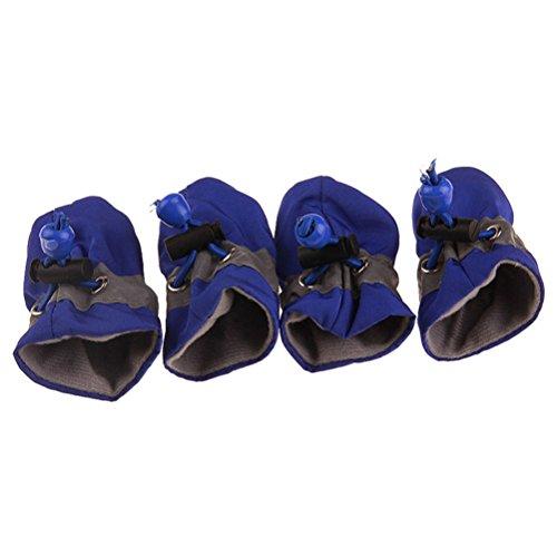 UEETEK 4pcs Zapatos para perros Impermeable antideslizantes Botas para mascota protectores de patas Lluvia Nieve - Talla S (Azul)