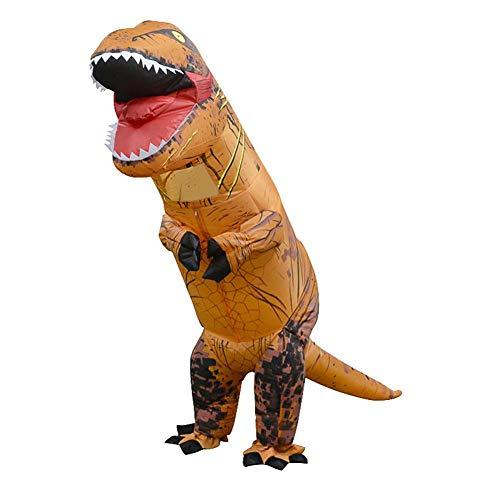 (Foru-1 Aufblasbares Dinosaurier-Kostüm T-Rex Kinder-Kleid Cosplay Anzug für Kinder 130-160 cm (Hellbraun))