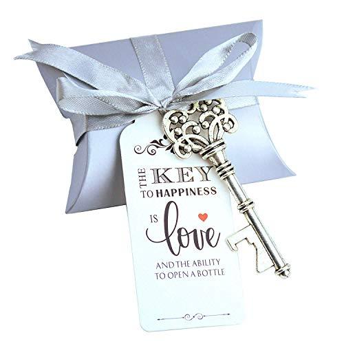 Makhry 50pcs bomboniera regalo bomboniera set regalo caramelle scatola retro scheletro chiave apribottiglie biglietto di ringraziamento nastro di seta (argento antico)
