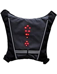 LED Turn Signal Light Reflective Vest Backpack Waist Pack Business Travel Laptop School Bag Night Cycling