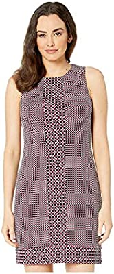 Michael Michael Kors Women's Mixed-Print Shift Sleeveless Sheath Dress, Bone/Garnet (Large)