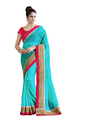 DIYA Fashion Sarees New Disigner Georgette Saree With Blouse Piece , Diya Fashion Designer Saree, Latest Collection Designer,Bollywood Designer Sarrees For Women Designer Sarees For Sale Sarees,indian traditional designer wear,smooth finish and perfect stitching,Diya fashion create fancy fabrics at cometitive prices.the diyafashion serves the customers with superior quality fabric ((Sky Blue With Golden Les Border And PINK Blouse)  available at amazon for Rs.465