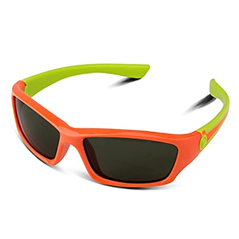 RIVBOS RBK025 Rubber Flexible Kids Polarized Sunglasses Age 3-10 (Orange)