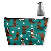 Cosmetic Bag - Travel Toiletry Pouch Makeup with Zipper (Beautiful Colourful Cotton Teal Cowboy Boots)