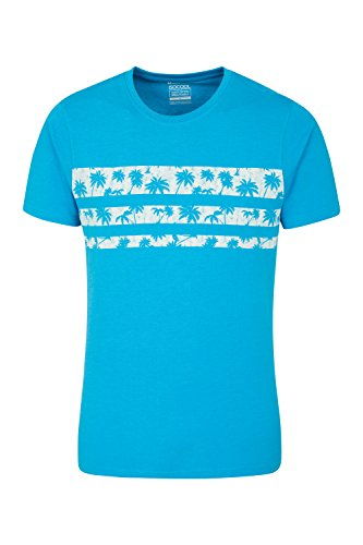 Mountain Warehouse Tropical Stripe Herren T-Shirt Blau Large (Mountain T-shirt Stripe)