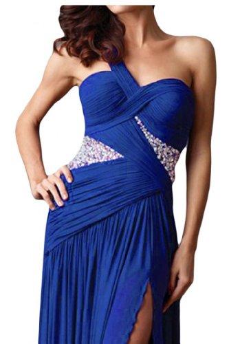 Gorgeous Bride Modern One-Schulter Chiffon Kristall Ballkleid Prom Kleid Abendmode Blau