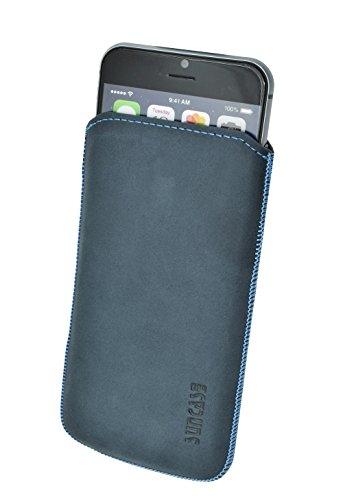 Original Suncase Etui Tasche für iPhone 8 PLUS | iPhone 7 PLUS mit ZUSÄTZLICHER Hülle / Schale / Bumper *Lasche mit Rückzugfunktion* Handytasche Ledertasche Schutzhülle Case Hülle in schwarz pebble-blue