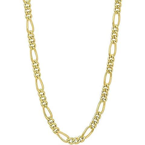 3 mm, placcati oro 14 k, Miami-Collana Figaro a catena