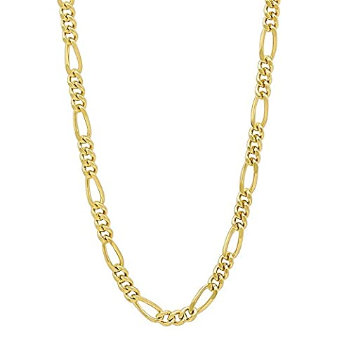 3mm 14k Gold Plated Miami Figaro Link Chain Necklace, 50 cm