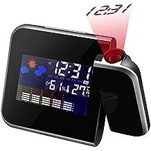 Colorida Reloj Despertador con Proyección, Proyección de Techo / Pared Relojes Digitales con Colourful Pantalla