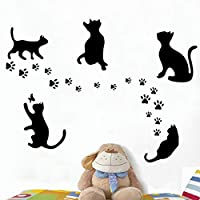 Bamsod Black Cats Design Catching Butterfly Art Peel Stick Wall Stickers DIY Vinyl Wall Decals Applique for Home Stairway Decor