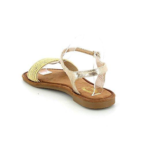 Sandales plates métallisé Doré