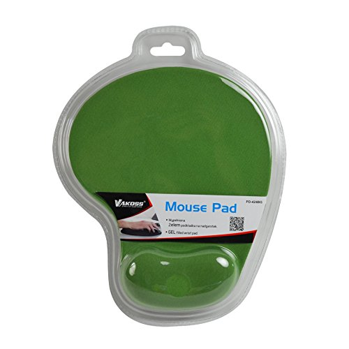 Vakoss PD-424BK Mauspad grün Handgelenkauflage Office Komfort Mat Gel und Rutschfeste Gummi Unterseite für Notebook Computer