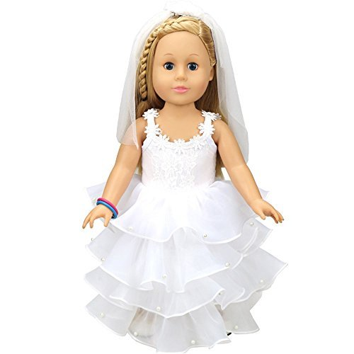 ILUCI American Girl Doll Clothes,Wedding Doll White Communion Dress for 18 inch Our Generation American Girl Doll
