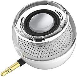 Mini haut-parleurs de téléphone portables avec 3,5 mm Micro USB Petit mains libres Haut-parleurs avec caisson de basses pourSamsungAuxAudio Jack Plug in Haut-parleurs pour iPhoneRechargeable(blanc)