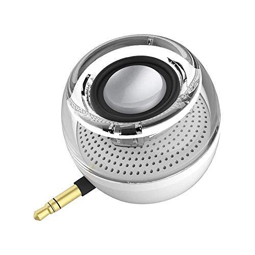 Mini altoparlanti del telefono portatile con 3.5mm Micro USB Speakers Piccolo viva voce con subwoofer per Samsung Aux Audio Jack Plug in Altoparlanti per iPhone ricaricabile (bianco)