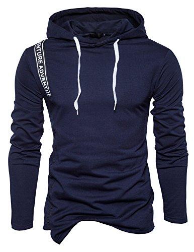 Boom Fashion moda Felpa con Cappuccio da Uomo cappotto stampa Thicker Tenere caldo Hoodie blu 1