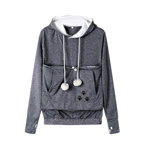 UJUNAOR 2019 Frühling Damen Hooded Pocket Cat Drucken Sweatshirt (Dunkelgrau,CN M)
