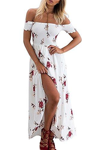 Yieune Sommerkleider Damen Blumen Maxi Kleid Off Shoulder Abendkleid Strandkleid Party Schulter Kleider (Sommerkleid)