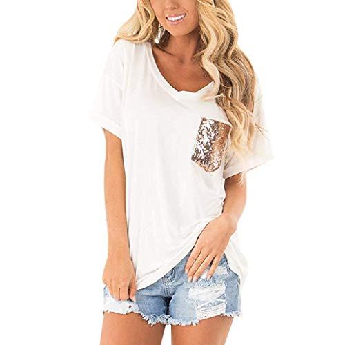 Vertikale Rüschen Top (Nyuiuo Frauen Sommer Kurzarm T-Shirt Frauen V-Ausschnitt Einfarbig Pailletten Pocket Tops T-Shirt Sommer Frauen Kurzarm Mode Pailletten Kurzarm T-Shirt Frauen Lose Beiläufiges T-Shirt Sweatshirt)