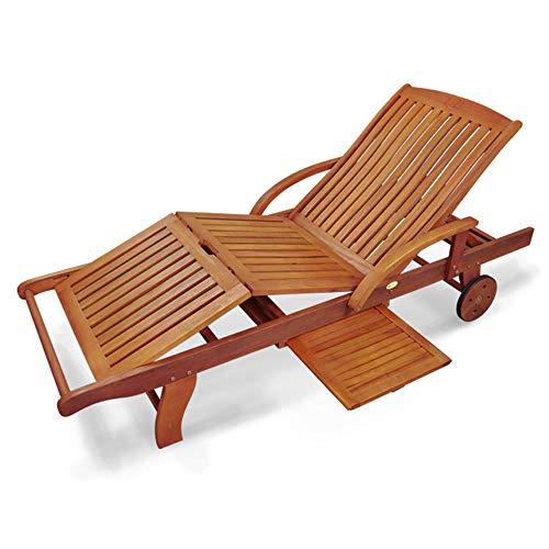 Indoba Designer Gartenliege mit Rädern - Sonnenliege - verstellbar - Holz Garten Liege