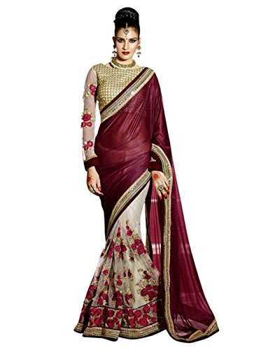 SURAT TEX Saree (Woman`s Clothing Saree For Woman Latest Desigen Wear Sarees Collection In Maroon & Beige Color Lycra & Net Material Latest Sarees With Designer Blouse Free Size Beautiful Bollywood Sa