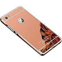 COOSA caso funda carcasa para Huawei P8 LITE, Nueva lujo ultrafino del metal de aluminio Espejo PC de nuevo caso de la cubierta 5.0 pulgadas (ORO DE ROSA)