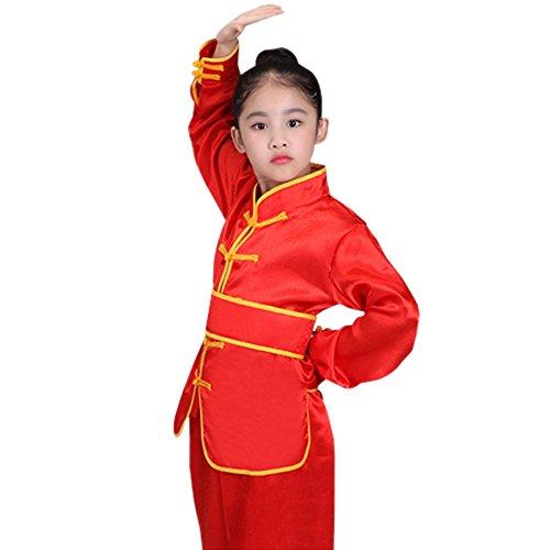 BOZEVON Unisex Kinder Langarm Kung Fu Tai Chi Tang Anzug Shaolin Kampfsportanzug Darbietungen Tanzkostüme, Rot