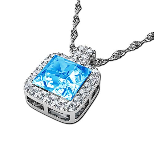 DEPHINI - Kristall Halskette - Aquablau Anhänger mit - A+ Cubic Zirkonia - feiner Schmuck - 925 Sterling Silber Schmuck für Frauen - 45,7 cm Premium rhodinierte Silberkette - Geschenke für Frauen