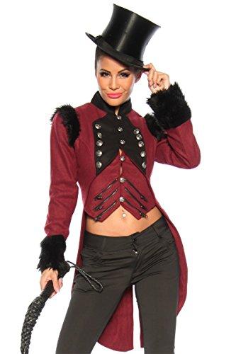 Dompteur Frack mit Stehkragen - burgund/schwarz - - Dompteur Kostüm