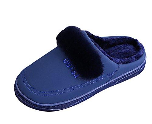 SK Studio Unisex Pantofole Con Pelo Invernali Antiscivolo Peluche Chiuse Pantofole Per Casa Blu scuro