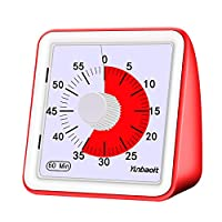 Yunbaoit 60-Minute Visual Analog Timer,Countdown Clock,No Loud Ticking,Time Management Tool for Kids and Adults, ABS