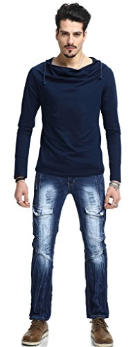 Pizoff Herren Urban Basic reguläre Passform Lang Arm T-shirt mit Kapuzer aus weiches Jersey B093-Blue
