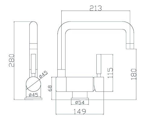 41KRCoAT3qL - Aqualy® - Grifo para fregadero de cocina abatible cromado