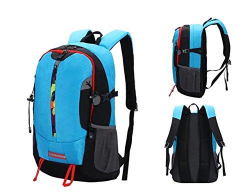 GOUQIN Zaino Outdoor Classico Moda Arrampicata Outdoor Un Viaggio Zaino In Spalla Dual Borse Tracolla Resistente All'Acqua 40L Pacchetto Sport, Blu Blue
