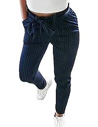 Moda Cintura Media Pantalones Lápiz - Mujer Cómodo Cintura Elástico Pantalón con Pretina Casual Pies Estrechos Leggings Pantalones