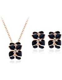 Fresh Vibes | Floral Black Earrings And Necklace Set For Women | 18K Rose Gold Plated Flower Petals Pendant Neck...