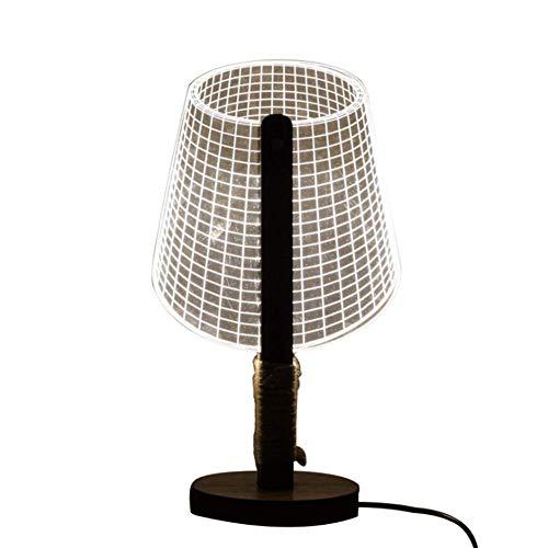 Acryl Schatten-tischleuchte (3D Stereoskopische Schreibtischlampe Studie Büro Augenpflege Dimmable LED Nachtlicht Schlafzimmer Nachttischlampe Gitter Schatten Acryl Illuminating Board Naturholz Tischlampe Mit Hanfseil Dekoration)