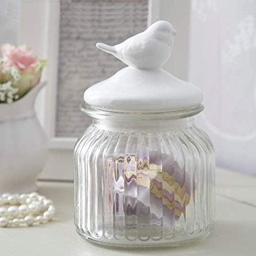 HOMIES INTERNATIONAL, 1 Piece Decorative Food Storage Glass Mason Sealed airtight Jars Container with White Ceramic Bird Lid for Home Kitchen and Commercial Use (Size: 11 * 11 * 17cm)