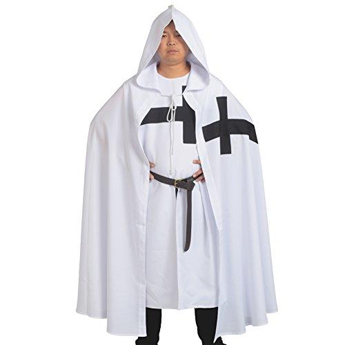 Knight White Kostüm - BLESSUME Mittelalterliche Hospitaller Rittertunika Mittelalterlich Chevalerie Ritter Tunika Umhang Kostüm (White 2)
